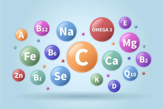 거품에 필수 비타민과 미네랄 복합체 무료 벡터