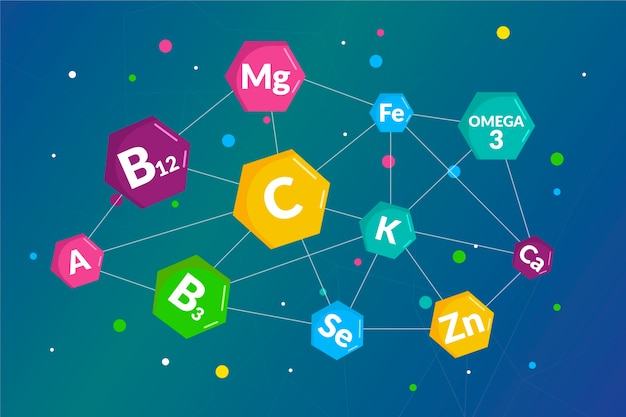 Essential vitamin and mineral complex background Free Vector