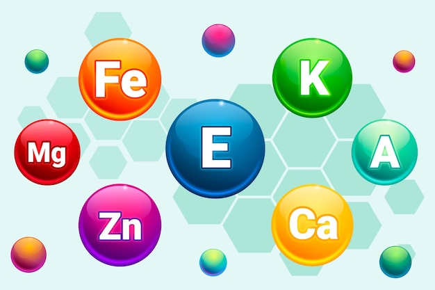 Essential vitamin and mineral complex Free Vector