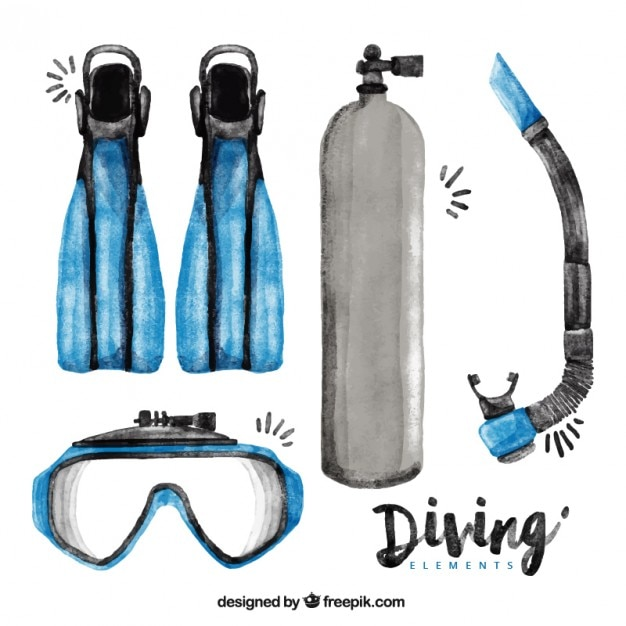 Essential watercolor diving elements Free Vector