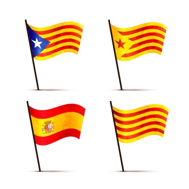 Набор бесплатных каталонских, сеньерских, estelada blava и флагов испании на шесте с тенью Premium векторы