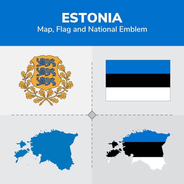 Estonia Map Flag And National Emblem Vector Premium Download - Estonia map download