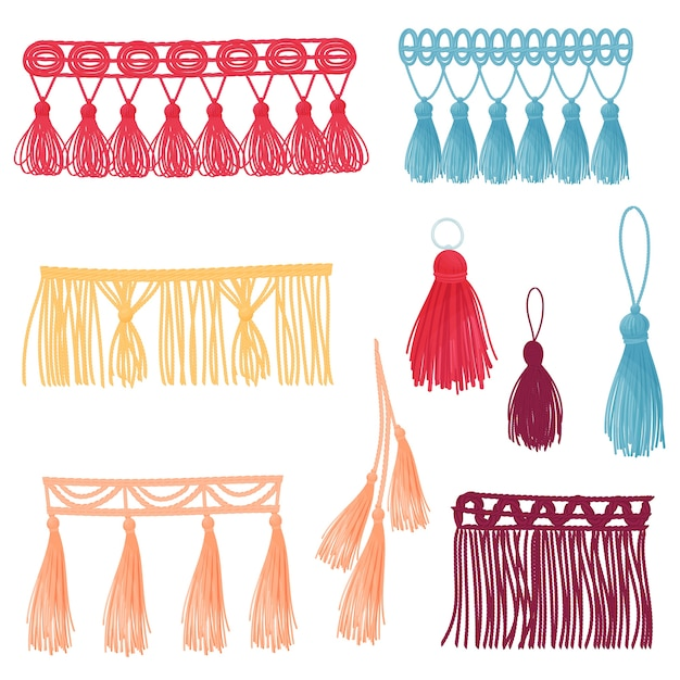 Et of images of decorative tassels of different colors and shapes.  illustration on white background. Premium Vector