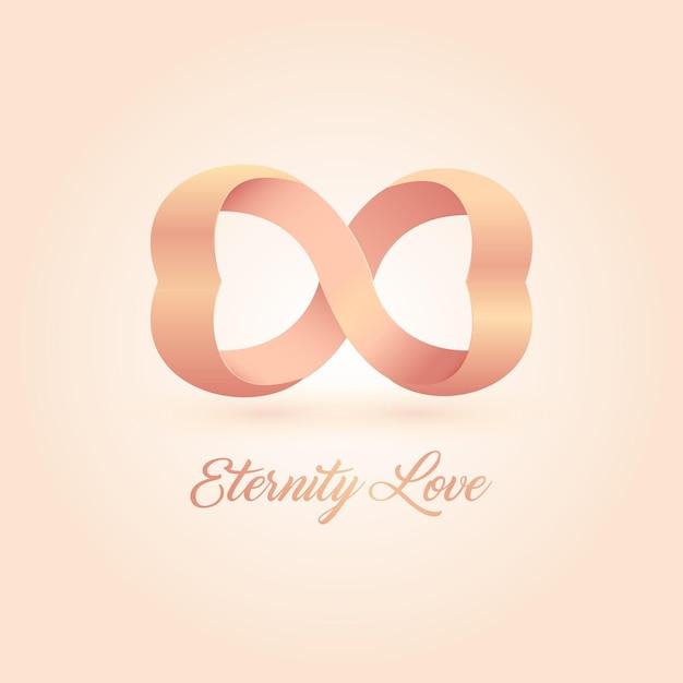 Логотип любви вечности. розовые соединенные сердца. бесконечная любовь Premium векторы