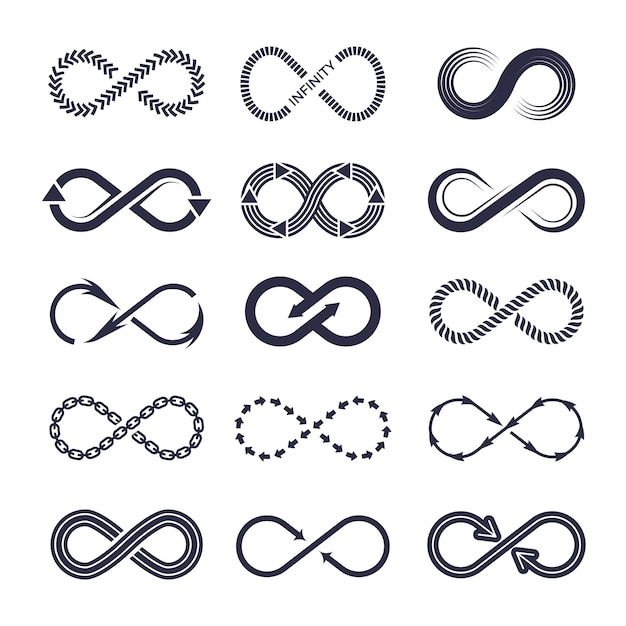 Eternity symbols. vector monochrome icon collection of infinity logotypes Premium Vector