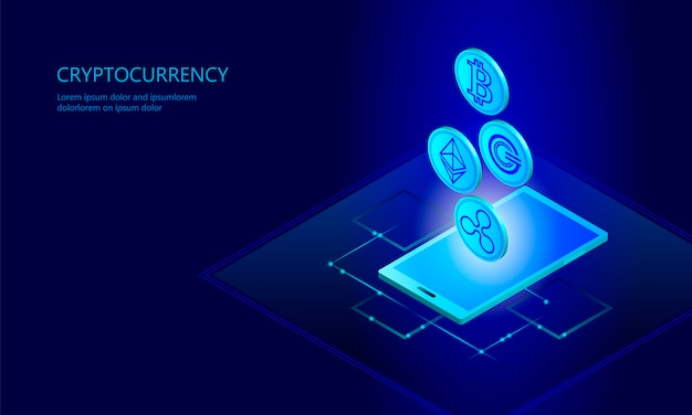 Ethereum bitcoin ripple coin digital cryptocurrency smartphone cell web Premium Vector