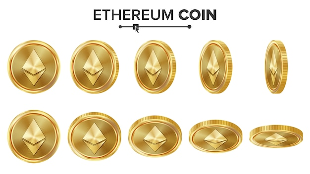 Ethereum coin 3d gold coins Premium Vector