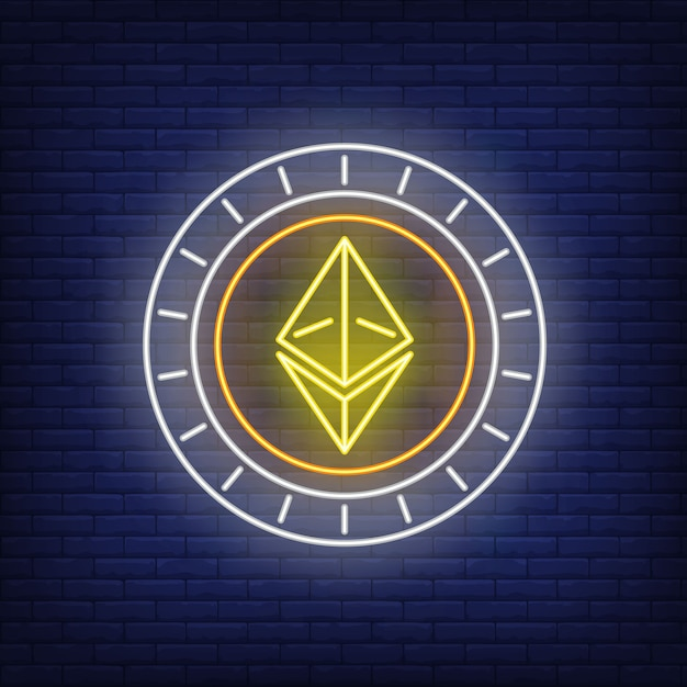 Ethereum cryptocurrency coin neon sign. Free Vector