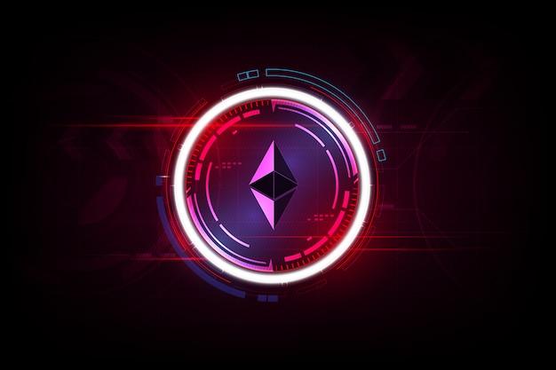 Ethereum digital currency, futuristic digital money, gold technology worldwide network concept. Premium Vector