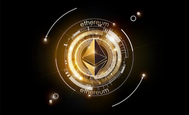 Ethereum digital currency, futuristic digital money, gold technology worldwide network concept Premium Vector