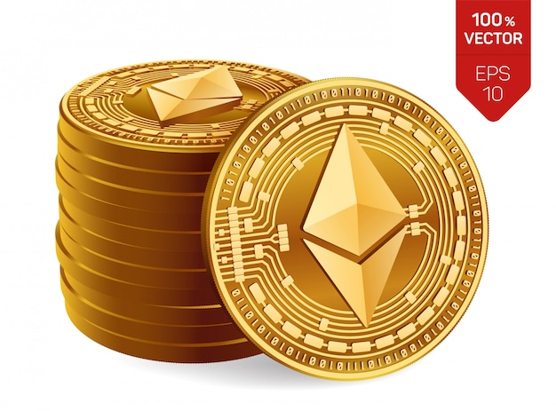Ethereum. stack of golden coins with ethereum isolated. cryptocurrency. Premium Vector