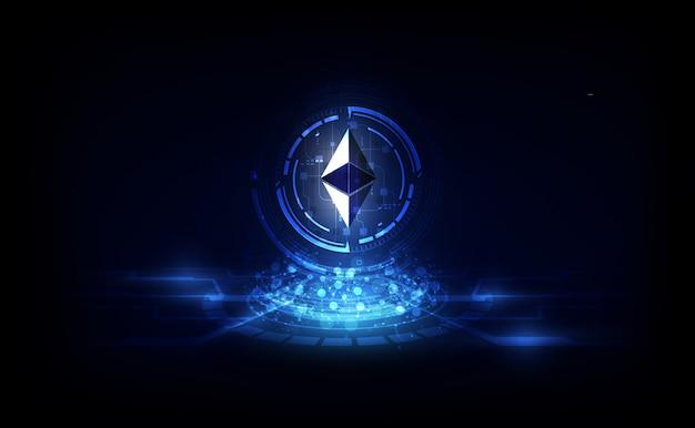 Ethereumデジタル通貨、未来的なデジタルマネー、ゴールドテクノロジーの世界的ネットワークコンセプト。 Premiumベクター