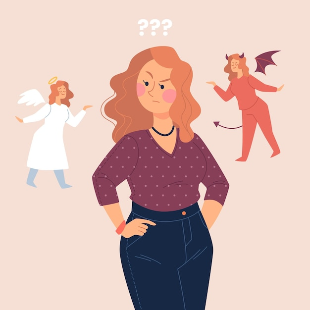 그녀의 어깨에 천사와 악마와 윤리적 딜레마 개념 여자 무료 벡터
