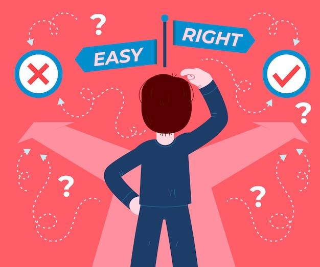 Ethical dilemma illustration Free Vector