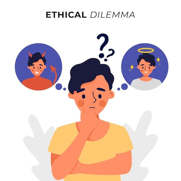 천사와 악마를 가진 사람을 궁금해하는 윤리적 딜레마 무료 벡터