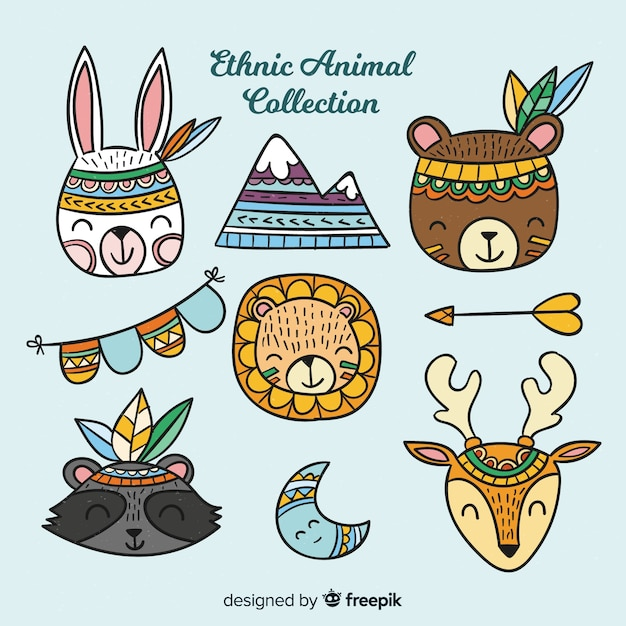 Ethnic animal collection Free Vector