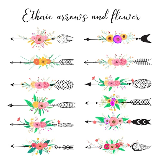 Ethnic arrows and flower, feathers and flowers boho style. Premium Vector