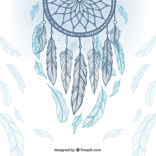 Ethnic background with dreamcatcher and feathers Free Vector