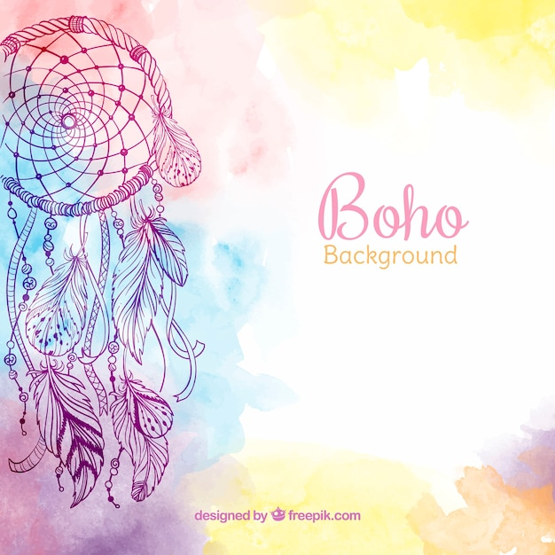 Ethnic background with watercolor feathers Free Vector