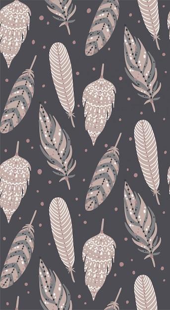 Ethnic boho feathers seamless pattern.. Premium Vector