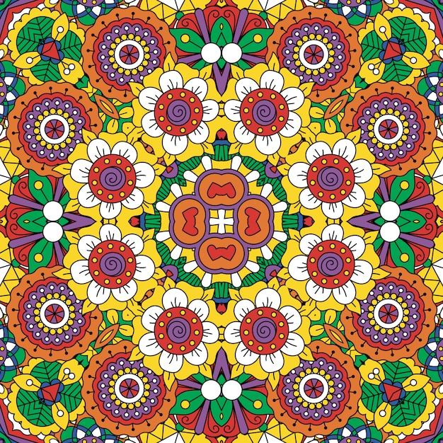 Ethnic bright mandala style flowers pattern Premium Vector