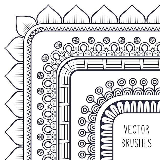 Ethnic brush collection Free Vector