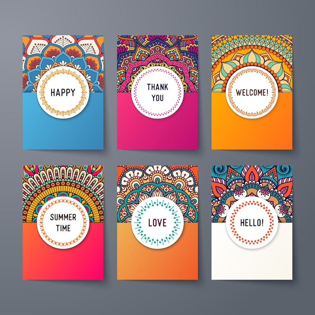 Ethnic card templates Free Vector