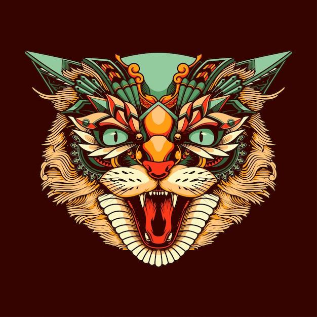 Ethnic cat head illustration Premium Vector