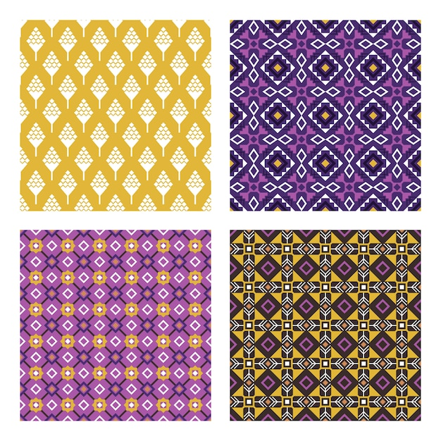 Ethnic colored patterns. colorful mexican or indian seamless pattern set with stylized nativity folk ornaments vector illustration Premium Vector