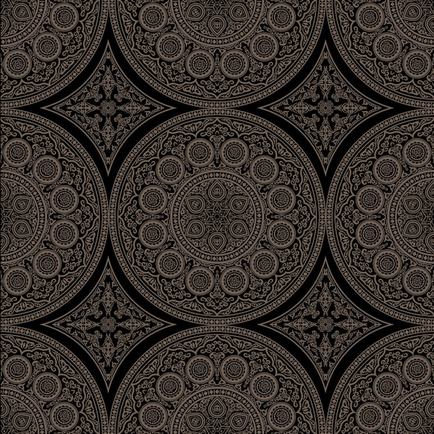 Ethnic complex seamless pattern with mandala - round ornament Premium Vector