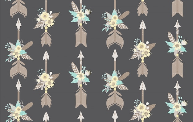Ethnic feathers,arrows and flowers seamless pattern. bohemian style. vector illustration. Premium Vector
