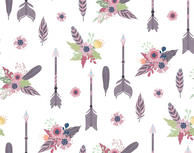 Ethnic feathers,arrows and flowers seamless pattern. Premium Vector