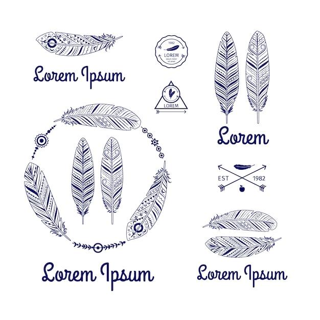 Ethnic feathers logo vector set with arrows Premium Vector