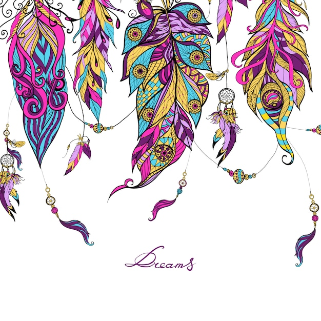 Ethnic feathers sketch Free Vector
