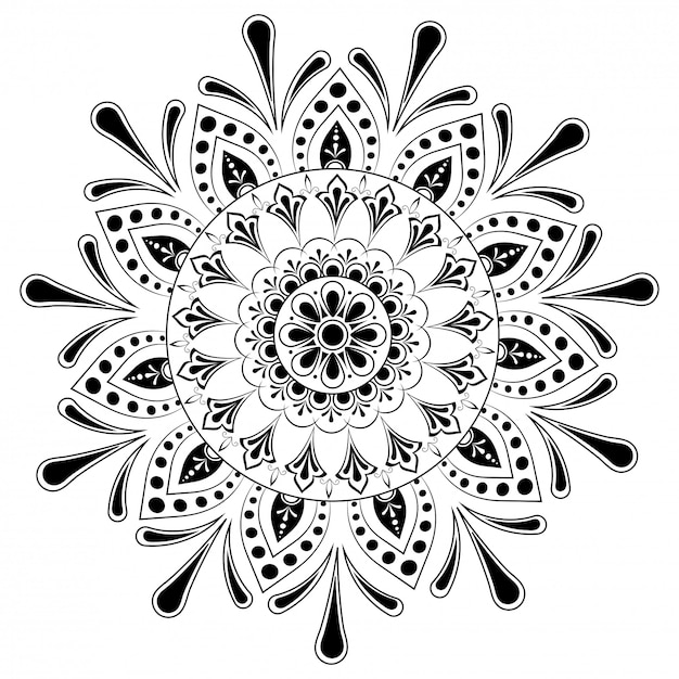 Этнические цветочные мандала шаблон дизайна. Premium векторы