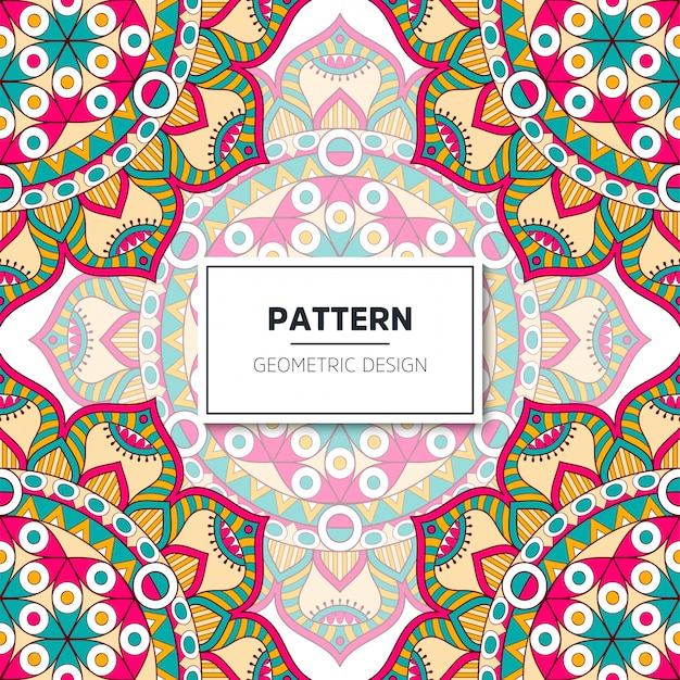 Ethnic floral seamless pattern with mandalas Premium Vector
