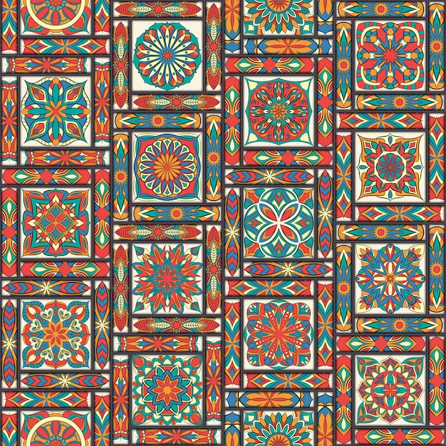 Ethnic floral seamless pattern with vintage mandala elements. Premium Vector