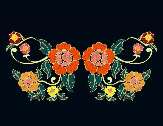 Ethnic flowers doodle neckline embroidery Premium Vector