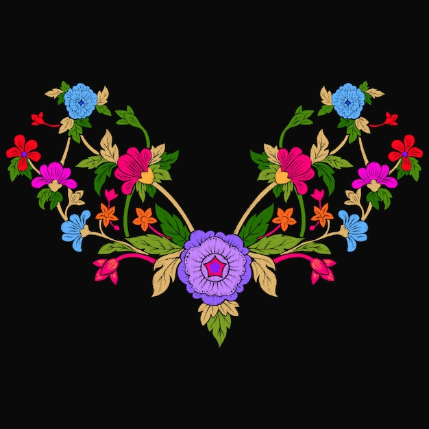 Ethnic flowers doodles neck line embroidery Premium Vector