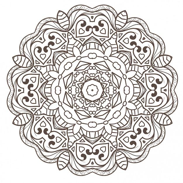 エスニックフラクタルマンダラ瞑想は、スノーフレークまたはマヤアステカのように見えます。 Premiumベクター