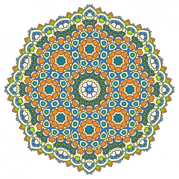 Ethnic fractal mandala vector meditation looks like snowflake or maya aztec Premium Vector
