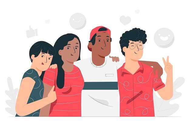 Illustrazione di concetto di amicizia etnica Vettore gratuito