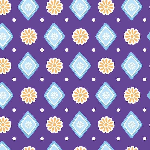 エスニック手作り、シームレスパターン花幾何学的な装飾テキスタイルベクトルイラスト Premiumベクター