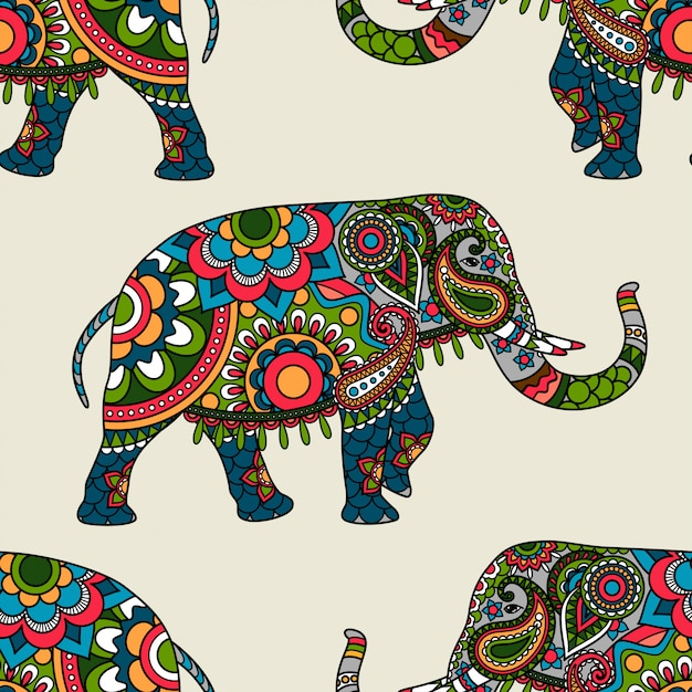 Ethnic indian elephant colored seamless background Premium Vector
