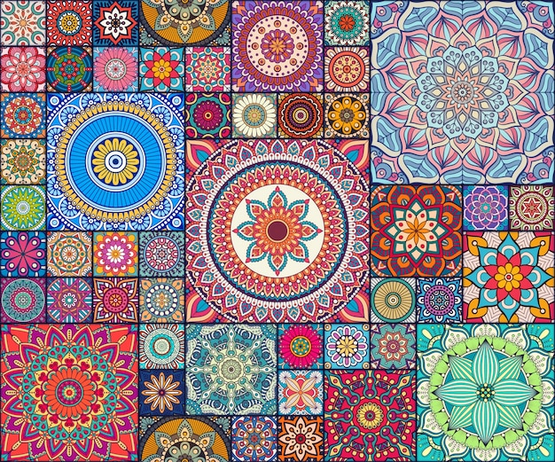 Ethnic mandala pattern tiles Vector | Free Download