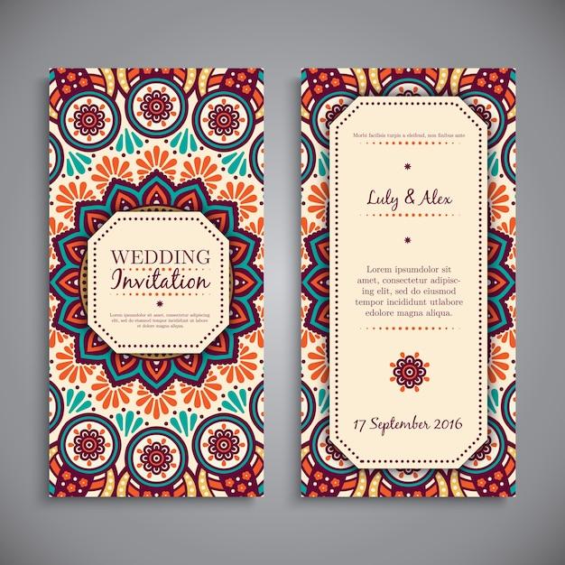Ethnic mandala style wedding invitation Vector Free Download