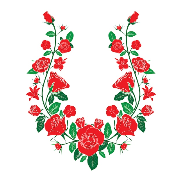 Ethnic neck line embroidery with roses Premium Vector