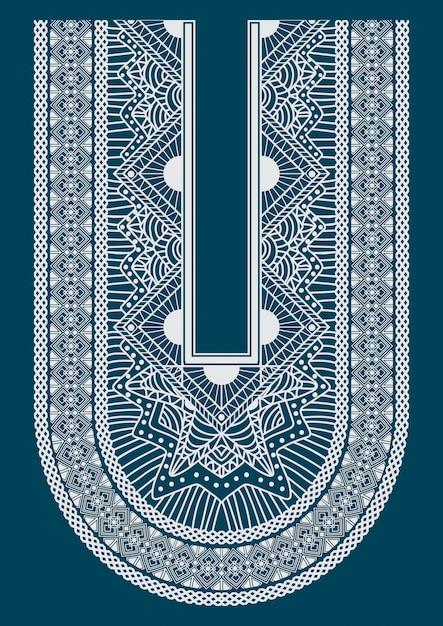 Ethnic neck line embroidery Premium Vector