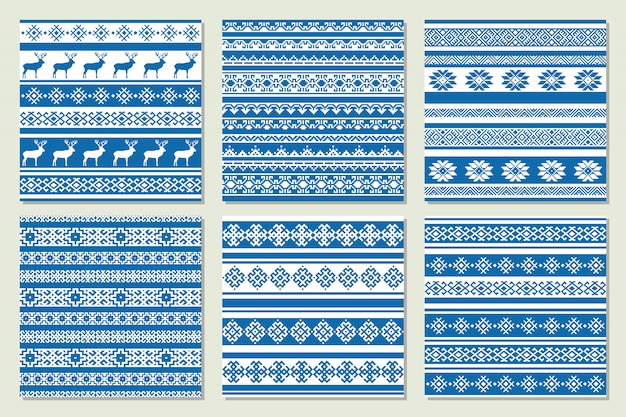 Ethnic nordic pattern with deer in blue and white colors. vector illustration. Premium Vector