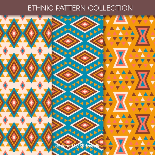 Ethnic pattern collection Free Vector